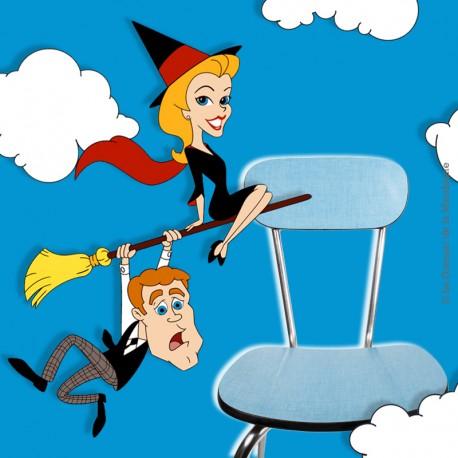 Le Grenier de la Mandoune. Chaise formica mint bleu pieds chromés vintage Loft. Vintage 1960