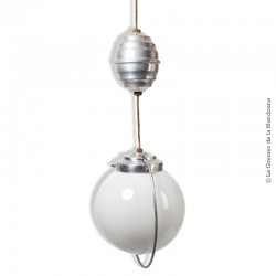 Suspension monte et baisse vintage opaline blanche et aluminium / Lustre vintage