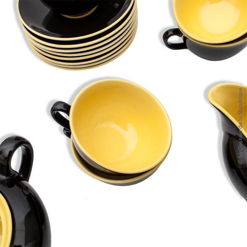 service 8 tasses  u00e0 caf u00e9 en c u00e9ramique noir et jaune