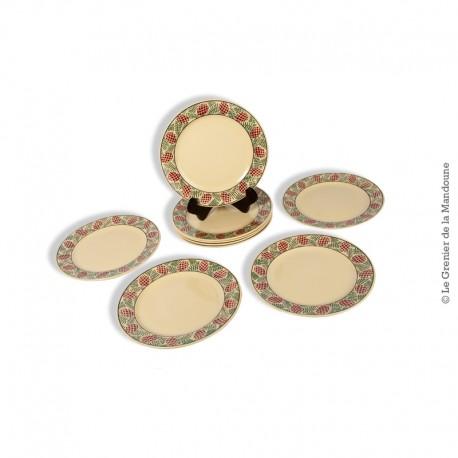 Le Grenier de la Mandoune. Lot de 9 assiettes à dessert Sarreguemines France, modèle ROTHONDES