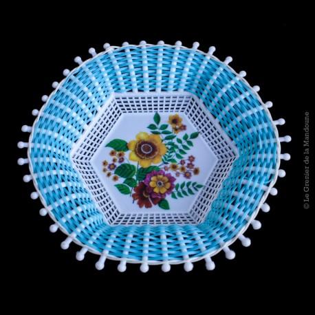 Corbeille scoubidou vintage, Motif fleurs