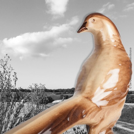 Le Grenier de la Mandoune. Faisan, oiseau en céramique émaillée, provenance Sainte Radegonde, Art Déco