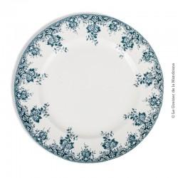 Le Grenier de la Mandoune. Grand Plat rond ancien, Marli décor Lambrequin fleuri bleu