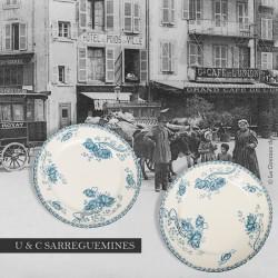 Le Grenier de la Mandoune. Paire d'assiettes modèle ROYAT, U & C Sarreguemines 1918