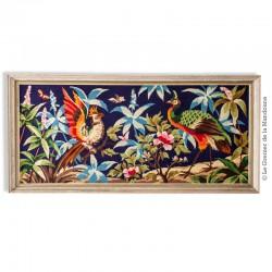 Le Grenier de la Mandoune. Grand Tableau Canevas « Oiseaux de Paradis » cadre bois, vintage 1970