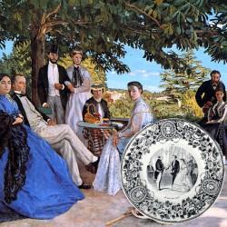 Le Grenier de la Mandoune. Assiette parlante Creil et Montereau «Le mariage civil» , Médailles d'Or, E.M & Cie (XIXè)