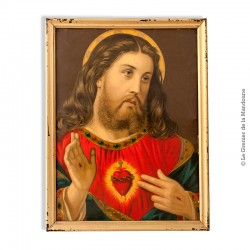 """Chromo ancien """"Christ"""" cadre en bois"""