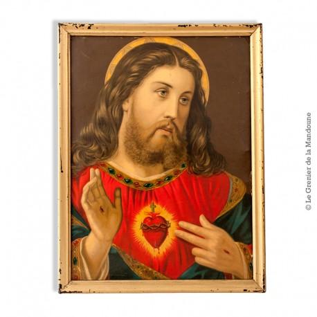 """Le Grenier de la Mandoune. Chromo ancien """"Christ"""" cadre en bois"""