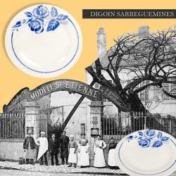 Paire d'assiettes plates, Digoin Sarreguemines, modèle St Etienne. French Antique