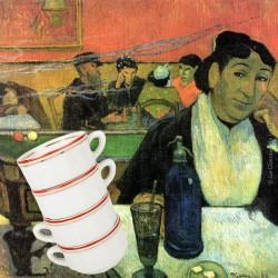 Le Grenier de la Mandoune. 4 tasses à café Bistrot, porcelaine de Chauvigny APILCO, 1940-1950