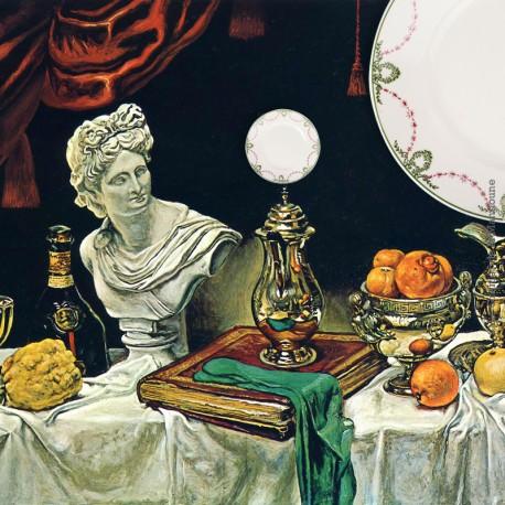 Le Grenier de la Mandoune. 2 assiettes Longwy 1934, marli couronnes et guirlandes fleuries