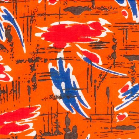 Le Grenier de la Mandoune. Tissu coton des années 1970 Imprimé Vintageorange ★ Neuf ★ French vintage ★