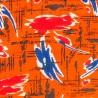 Tissu coton des années 1970 Imprimé orange ★ Neuf ★ French vintage