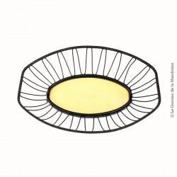 Panière à pain corbeille vintage, jaune & noire