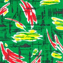 Le Grenier de la Mandoune. Tissu coton des années 1970 Imprimé vert ★ Neuf ★ French vintage