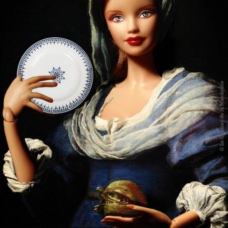 Le Grenier de la Mandoune. 2 assiettes plates St Amand, modèle PRIMAX, décor bleu 4017. Made in France