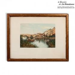 Ancienne gravure couleur paysage signé G. Marchelli 1885 /1912 encadrée