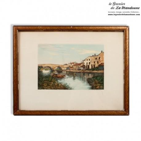 Le Grenier de la Mandoune. Ancienne gravure couleur paysage signé G. Marchelli 1885 /1912 encadrée