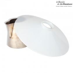 Lustre, abat-jour opaline blanche vintage 23,5 cm