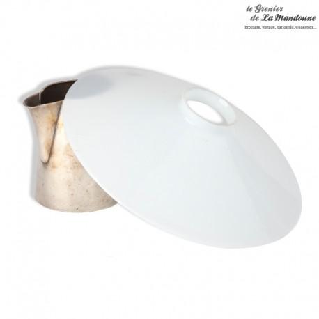 Le Grenier de la Mandoune. Lustre, abat-jour opaline blanche vintage 23,5 cm