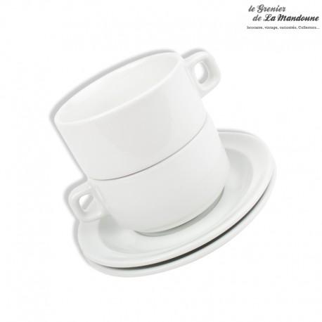 Le Grenier de la Mandoune. 2 grandes tasses à chocolat et leurs soucoupes Sarreguemines, bistrot Français