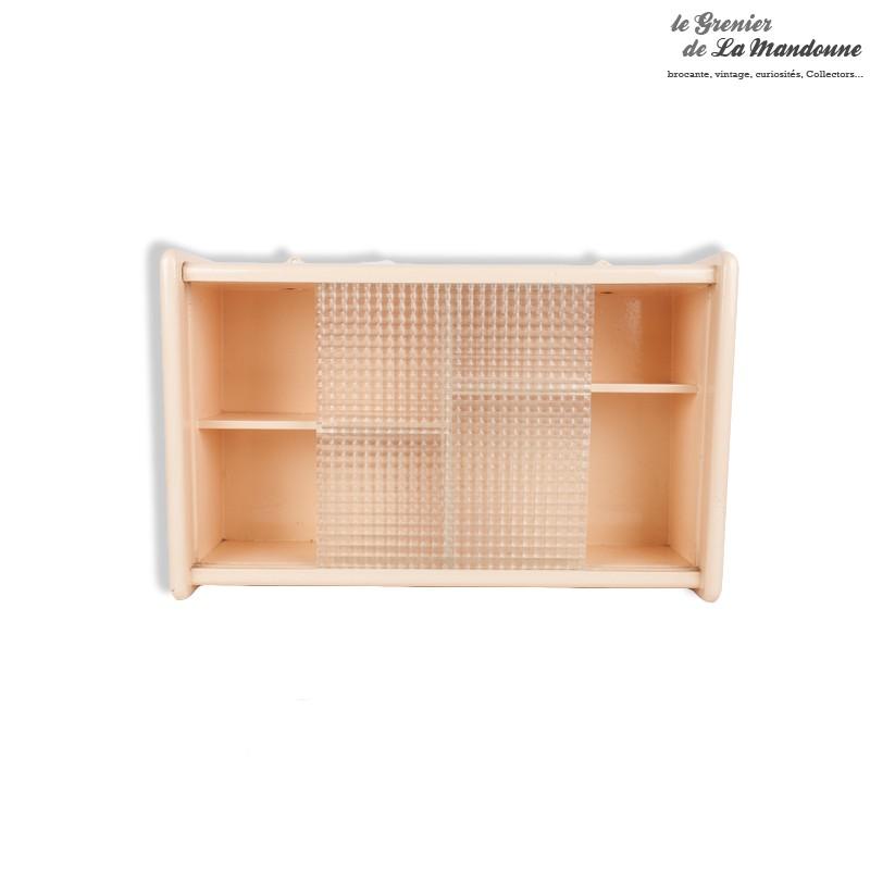 armoire de toilette vintage en bois vitre motif en relief petits carreaux et son porte serviette. Black Bedroom Furniture Sets. Home Design Ideas