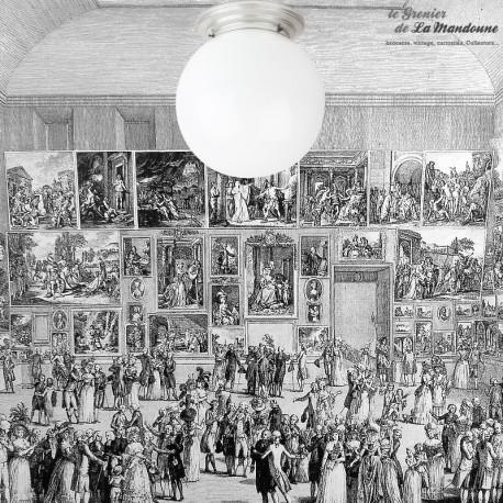 Le Grenier de la Mandoune. Plafonnier, applique vintage, grand globe en opaline blanc déco des années 1960. French Design