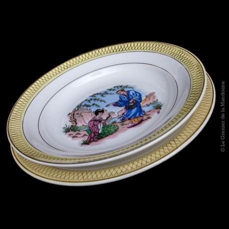 Lot de  2 Assiettes une plate & une creuse st Amand Céranord, modele Butterfly 1908 - 1962