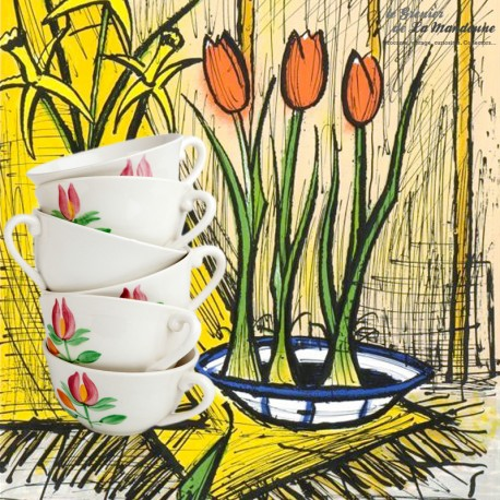 Le Grenier de la Mandoune. Lot de 6 tasses Gien France avec sucrier et pot à lait, modèle Princesse 1960 - 1971