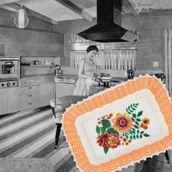 Le Grenier de la Mandoune. Authentique tissu coton des année 1950 « QUERCY » C.T.F ★ Neuf  ★ 1m30 x 1m. French vintagCorbeille s