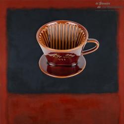 Filtre à café Melitta 101en grés, couleur marron. Vintage