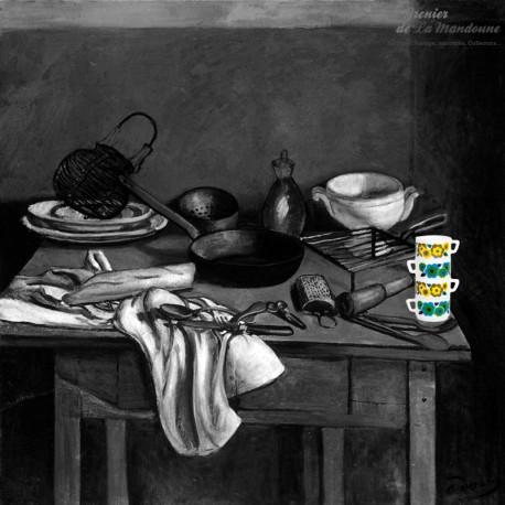Le Grenier de la Mandoune. Lot de 4 tasses vintage Arcopal motif fleurs de lotus bleues et jaunes