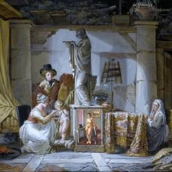 Ancienne peinture à l'huile, femme posant nue dans un salon