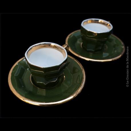 2 Tasses a café de bistrot ancien. Lambert & Bieler, modèle Pillivuyt