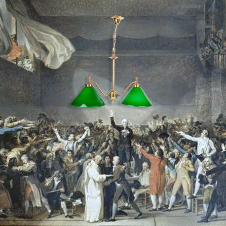 Le Grenier de la Mandoune. Lustre Billard vintage, deux lampes à opaline verte et laiton (cuivre)