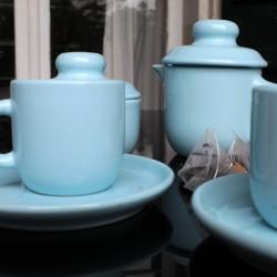 Tête à Tête petit déjeuner vintage en faïence bleu